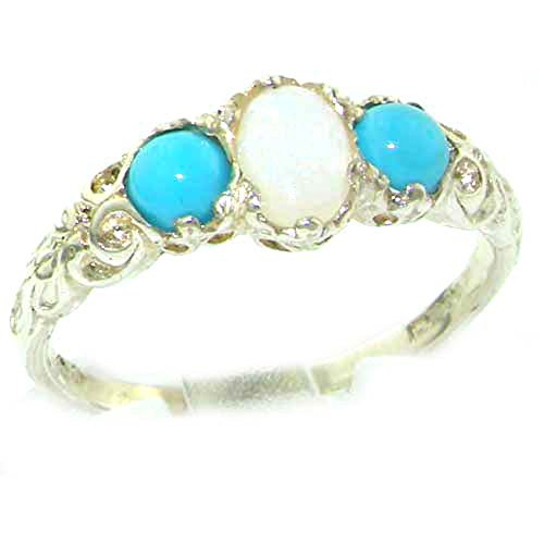 (925 Sterling Silver Natural Opal and Turquoise Womens Trilogy Ring - Size 4.75)