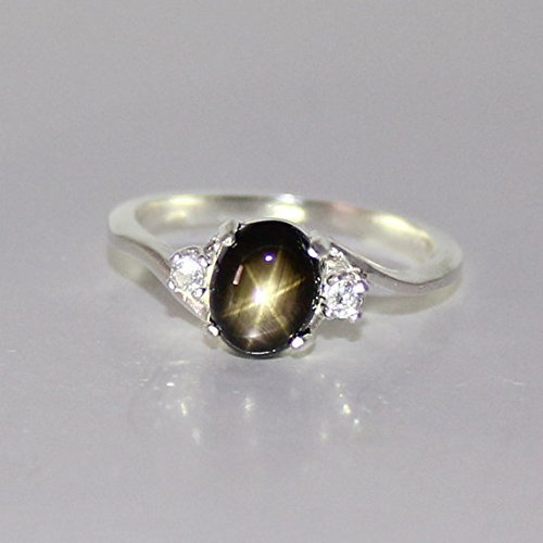 - Genuine Black Star Sapphire Sterling Silver Ring with Diamond Accents