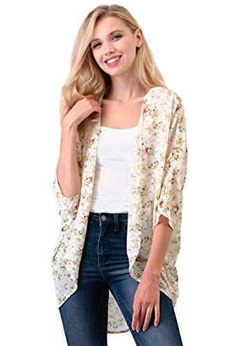 (Casual Light Sheer Floral Pattern Kimono Style 3/4 Outerwear Cardigan Floral Cream S )