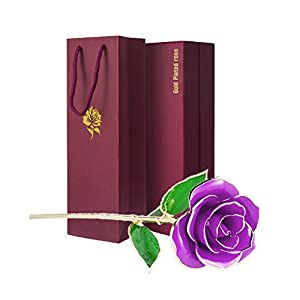 24k Gold Dipped Rose Romantic Artificial Rose Flowers with Long Stem, Perfect Birthday Gift 119