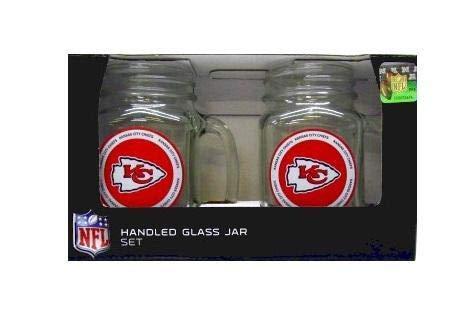 Boelter Brands Kansas City Chiefs Glass Jars with Handles 2 PC. 16 OZ.