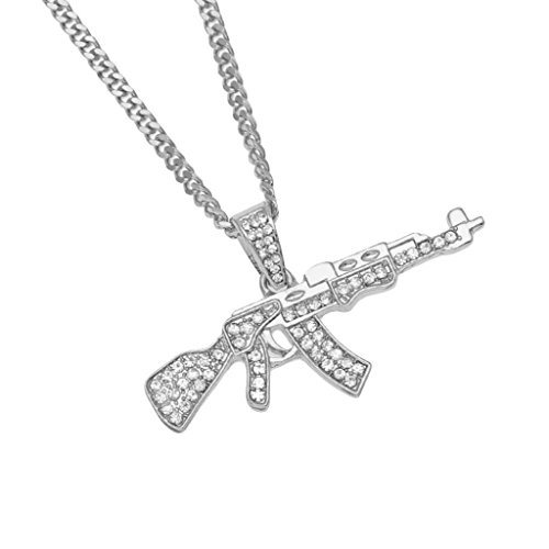 RTYou Fashionable Necklaces, Alloy Pendant Necklace Iced Out Rhinestone with Hip Hop Miami Cuban Gold Chain (Silver)