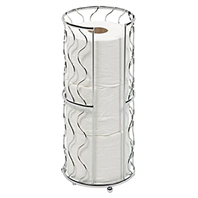 Toilet Paper Storage Reserve - Free Standing - Modern Bathroom Space Saver - Holds 3 Standard Rolls - Richards Homewares