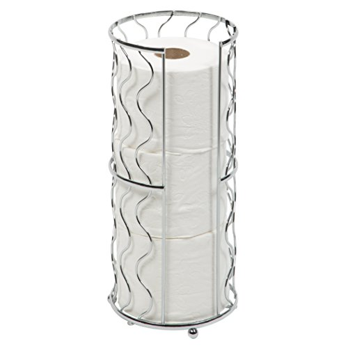 Toilet Paper Storage Reserve - Free Standing - Modern Bathroom Space Saver - Holds 3 Standard Rolls - Chrome -Richards Homewares