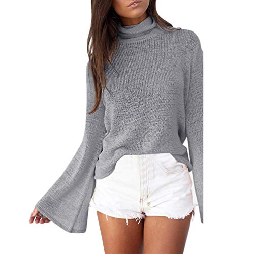 Rela Bota Women's Long Sleeve Turtleneck Casual Sweatshirt Back Lace up Knit Loose Pullover Sweaters Large Grey ()