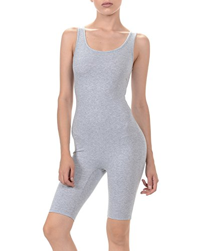 7Wins Women Catsuit Cotton Lycra Tank Short Knee Yoga Bodysuit Jumpsuit (Medium, Heather Grey)