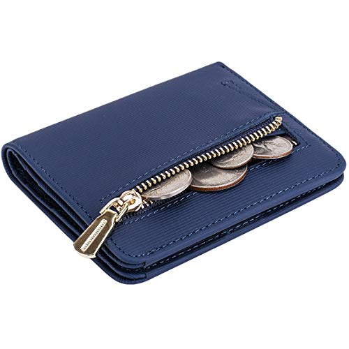 Wallet Blue Womens (Itslife Women's Rfid Blocking Small Compact Bifold Leather Pocket Wallet Ladies Mini Purse with id Window (Stripe Blue))
