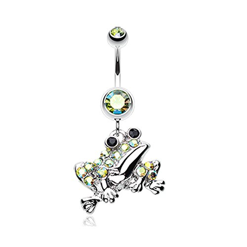 (14G Swaggy Frog Sparkle Inspiration Dezigns Belly Button Ring)