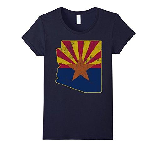 Womens Cool Vintage Distressed Arizona State Outline Flag Shirt Medium Navy