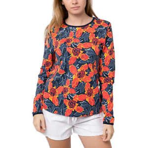 Hang Ten Womens Long Sleeve Rashguard UPF 50+, (Wallpaper Red, Size: S)