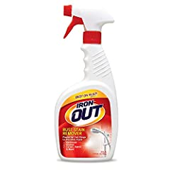 Iron OUT Spray is specifically formulated to cling as it dissolves the toughest rust stains on contact. The unique formula is highly effective yet safer than traditional liquid rust stain removers. This convenient and versatile liquid spray i...