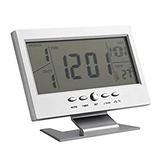 Black & White Voice Control Back-Light LCD Alarm Desk Clock Weather Monitor Calendar with Thermometer 147 * 56 * 115mm(L*W*H)