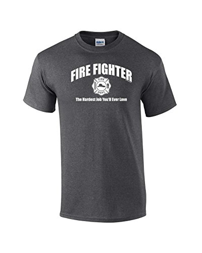 Firefighter T-Shirt The Hardest Job You'll Ever Love-HeatherGray-Mediu