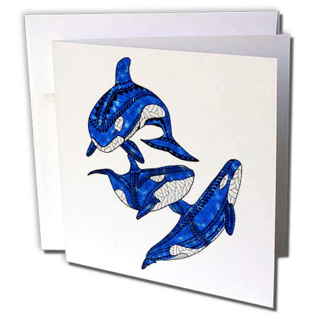 3dRose Macdonald Creative Studios – Tribal Animals - Polynesian Tribal Artwork of a Group of Three Orcas or Killer Whales. - 12 Greeting Cards with envelopes (gc_291819_2) ()