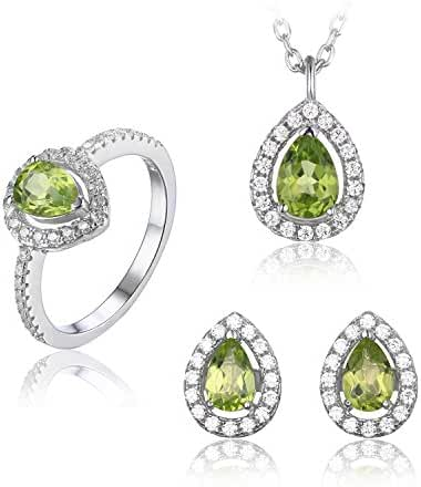JewelryPalace Women's Pear Natural Peridot Jewelry Sets 925 Sterling Silver Stud Earrings Solitaire Pendant Necklace Ring