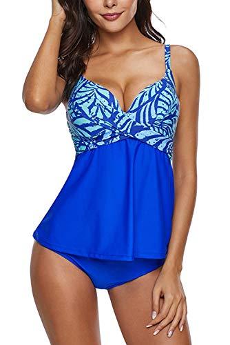 Ancoset Women Tummy Control Swimwear Push Up Takini Top and Bikini Bottom BlueMedium (fits Like US 2-4)