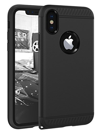 (iPhone X Case, iPhone 10 Case CHTech Slim Dual Layer Protective Shock-Absorption Armor Corner Cushion Case Cover with Lanyard Hole Design for Apple iPhone X 5.8'' - Black)