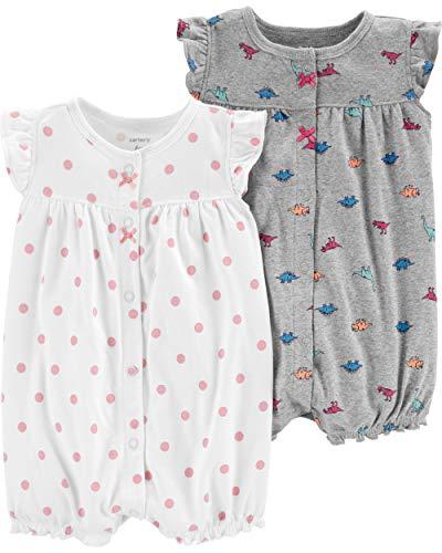 Carter's Baby Girls 2-Pack Romper, Koala/Dinosaur, 24 Months