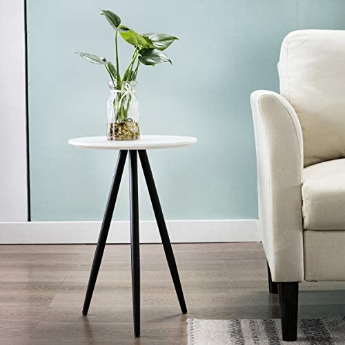 Nesting End Tables, Bonzy Home Round Coffee End Table Decor Sofa Side Table for Home Living Room Table White