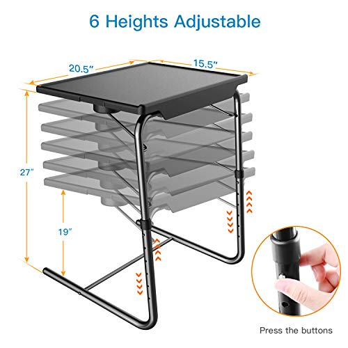 Adjustable TV Tray Table - TV Dinner Tray on Bed & Sofa, Comfortable Folding Table with 5 Height & 3 Tilt Angle Adjustments, Laptop Table with Built-in Cup Holder (1 Pack, Black) by HUANUO (Image #2)