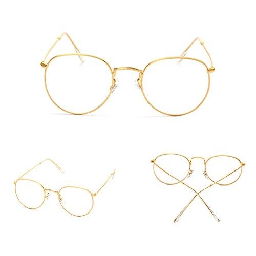 Doober Vintage Men Women Eyeglass Frame Glasses Round Spectacles Clear Lens Optical (Gold, - Round Spectacles Vintage