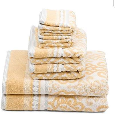 Nicole Miller 6 Pc BATH Towel Set Medallion Yellow Grey White Bathroom  new