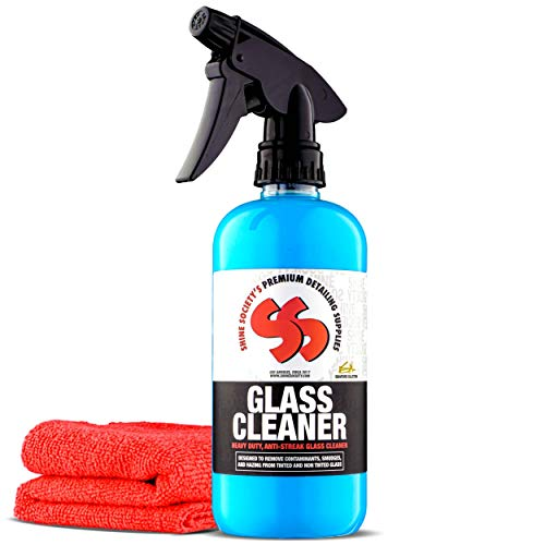 Shine Society Glass and Window Cleaner, 100% All-Natural Anti Streak Formula, Made for Tinted and Non-Tinted Car Windows with Microfiber Towel Included (18 oz.) (Best Car Glass Wipes)