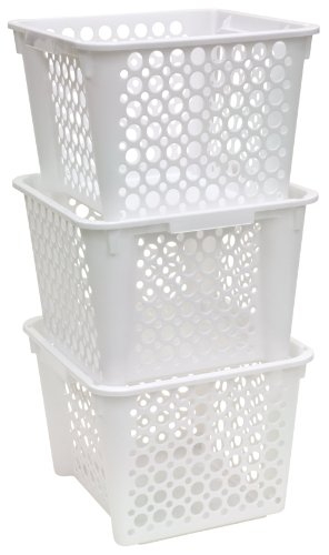 United Solutions-Organize Your Home CR0253 Set of Three Large Plastic Storage Nesting Crates in White-3 Large Plastic Organizing Crates Stack Neatly for Storage and Space Saving