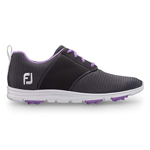 FootJoy Women's Enjoy-Previous Season Style Golf Shoes Black 7 M, Charcoal, US