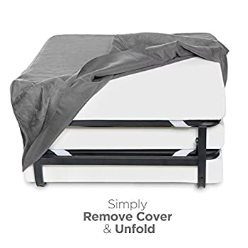 """Milliard Folding Bed Ottoman Single Size with Grey Suede Cover, Guest Hideaway 30x78"""" Bed, Dual Use, No Assembly Required"""
