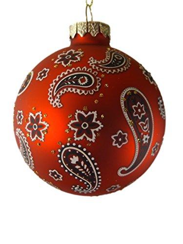 (Red Paisley Western Bandana Glass Christmas Tree Ornament A )