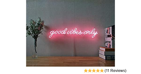 Good Vibes Only Real Glass Neon Sign For Bedroom Garage Bar Man Cave Room Home Decor Handmade Artwork Visual Art Dimmable Wall Lighting Includes ...