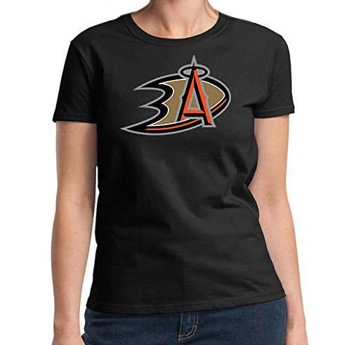 Anaheim-Fan-Angels-Ducks-Fan-Sport-Combo-Logo-Womens-Black-T-SHIRT