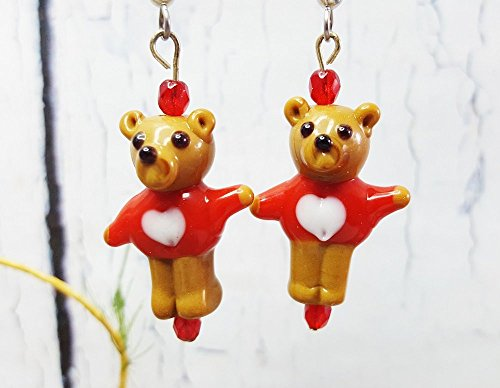 Treasure Bear Hugs (Teddy Bear Dangle Earrings ~ Gift For Girlfriend ~ Best New Mom Gift ~ Mama Bear Hugs ~ Proposal Jewelry ~ Red Earrings, Stocking Stuffers)