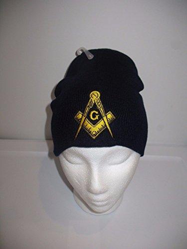 (Mason Masonic Navy Blue with Gold Symbol Winter Knit Beanie Skull Cap Military Veteran Skully)