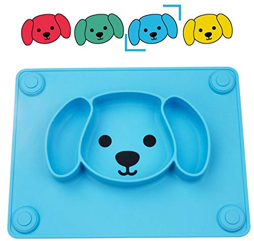 Qshare Toddler Plate, Portable Baby Plates for Toddlers and Kids, BPA-Free FDA Approved Strong Suction Plates for Toddlers, Dishwasher & Microwave Safe Silicone Placemat 11x8x1 inch (3Puppy-Blue)