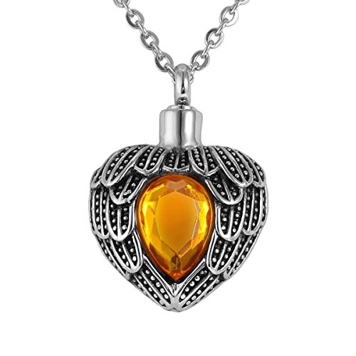 - Valyria Angel Wing Birthstone Memorial Urn Necklace Stainless Steel Cremation Jewelry,Tawny(November)