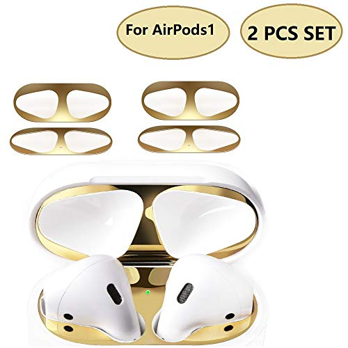 JNSA Dust Guard for AirPods 1 (Previous Model) [2 Set][Chromium Plating][Protect AirPods from Iron/Metal Shavings][Luxurious Looking] Shiny Glossy Gold ()