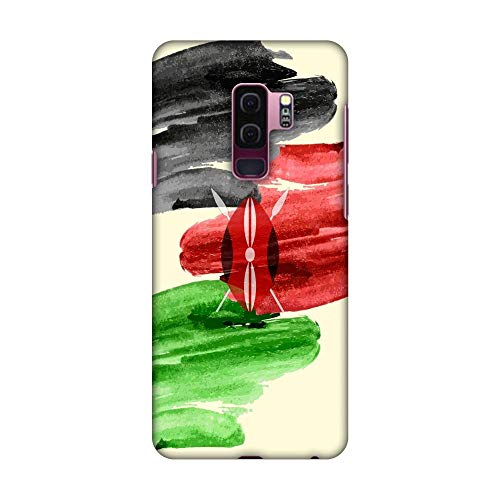 AMZER Slim Fit Handcrafted Designer Printed Snap On Hard Shell Case Back Cover with Screen Cleaning Kit Skin for Samsung Galaxy S9 Plus - Kenya Flag- Brush Strokes HD Color, Ultra Light Back Case ()