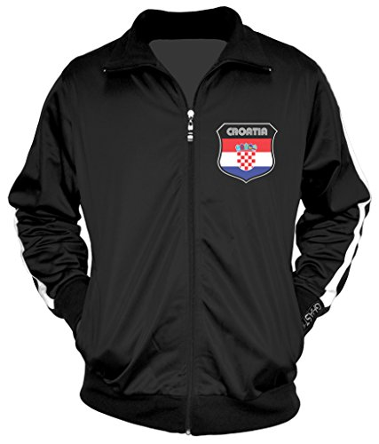 - Amdesco Men's Croatian Pride, Croatia Track Jacket, Black w/One Stripe Medium