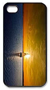 amazing cover sailboat lake sunset PC Black Case for iphone 4/4S