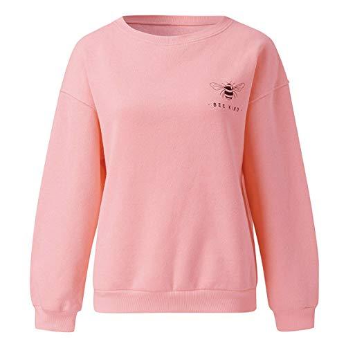 [해외]Thenxin Womens Casual Crew Neck Sweatshirt Bee Logo Solid Color Long Sleeve Autumn Pullover Shirt / Thenxin Womens Casual Crew Neck Sweatshirt Bee Logo Solid Color Long Sleeve Autumn Pullover Shirt(Pink,L)