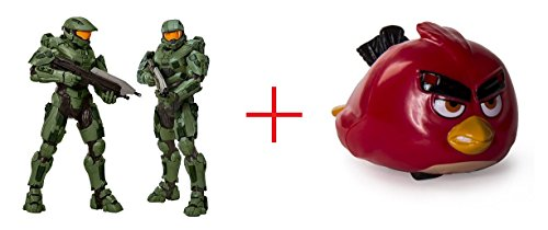 Halo Master Chief 31 inch Action Figure and Angry Birds Speedsters Figure - Red - Bundle