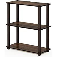 FURINNO Turn-S 3-Tier Compact Multipurpose Shelf with Square Tubes (Walnut/Brown)