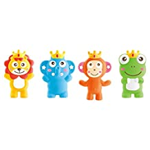 Little Treasures Teether Toy, 3-in-1 Squeeze, Whistle, Bath Toy Includes 4 Individual Toy Characters
