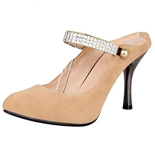 Mulas Razamaza Mujer Tacon Para Apricot Alto De Zapatos YwnIY8pO