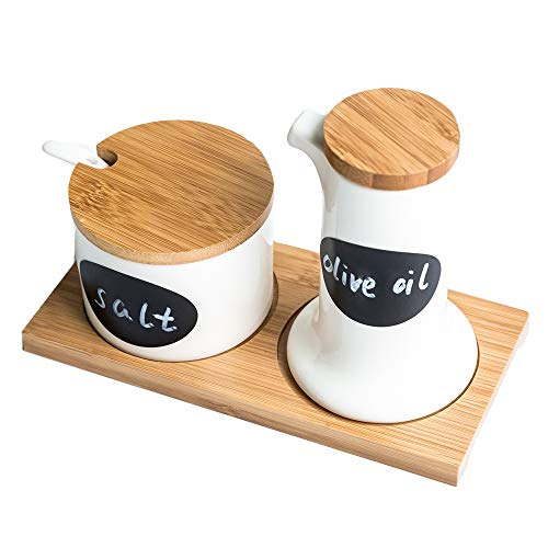 (Customizable Ceramic Spice Jars or Seasoning Containers - Consisting of Pourer, containers with lids, Spoon, Serving Tray - 6 Free Blackboard Adhesive Stickers & White Marking Pen - Great Gift Ideas)