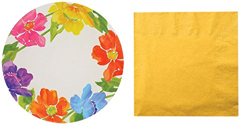 Colorful Paper Plate + Napkin Sets (Flower Plates 9