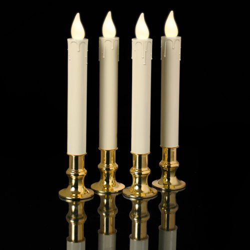 Mr. Light 7.5 inches Ivory inchesTimer inches Tapers with Real Brass Holders - Set of 4 - Non-Flickering Warm White LEDs