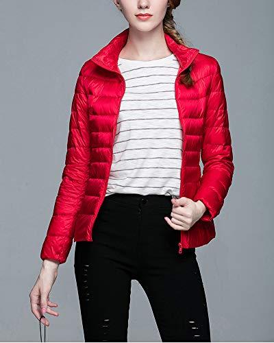 Zippee Duvet Col Montant Doudoune Rouge Imperméables Manches Légère Blouson Chaud Longues Manteau Ultra Coupe Femme Slim Veste Guocu IqOpX8q